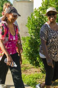 Two women participate in a walking program