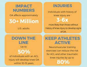 Up to 50% of individuals with an ACL injury will develop knee OA within 10-15 years. Neuromuscular training exercises can reduce the risk of ACL injuries by up to 80%.