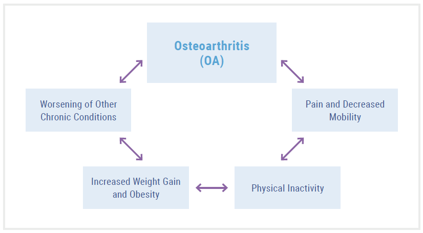 Osteoarthritis can lead to a vicious cycle of decreased mobility, physical inactivity, increased weight gain, and worsening of other chronic conditions.