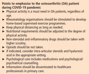 Tackling osteoarthritis during COVID-19 pandemic