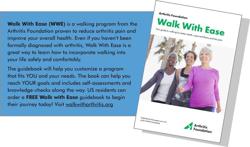 Walk with Ease is a walking program from the Arthritis Foundation proven to reduce arthritis pain and improve your overall health. Visit walkwitharthritis.org to order your free guidebook. - Osteoarthritis Action Alliance